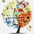 """Kit broderie diamant """"arbre des quatres saisons"""", 25 x 25 cm"""