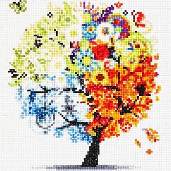 Kit broderie diamant 'arbre des quatres saisons', 25 x 25 cm