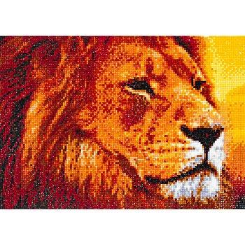 Kit broderie diamant 'lion dans la savane', 34 x 24 cm