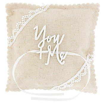 Ringkissen You + Me, natur, 14 x 14 cm