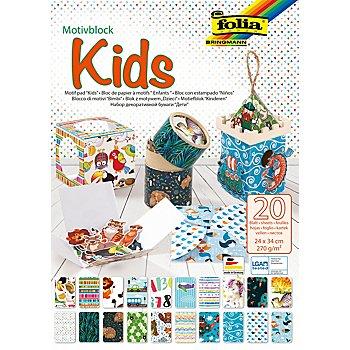 Folia Bloc de papier à motifs 'Kids', 24 x 34 cm, 20 feuilles