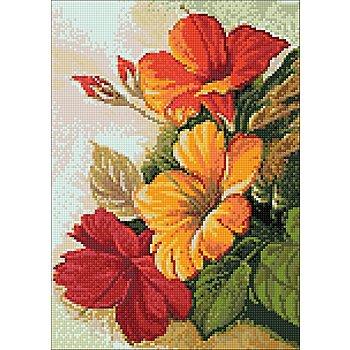 Kit broderie diamant 'hibiscus', 27 x 38 cm