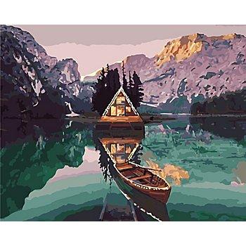 Kit peinture aux numéros 'chalet dans les Alpes', 50 x 40 cm