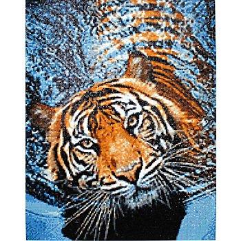 Kit broderie diamant 'tigre dans l'eau', 38 x 48 cm