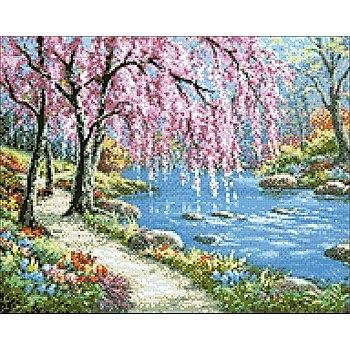 Diamantenstickerei-Set 'Spaziergang am Fluss', Größe: 48 x 38 cm