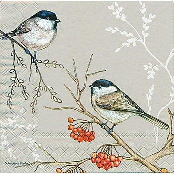 Papierservietten 'Vogel auf Beerenzweig', 33 x 33 cm, 20 Stück