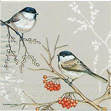 Serviettes en papier 'oiseaux et baies', 33 x 33 cm, 20 pièces