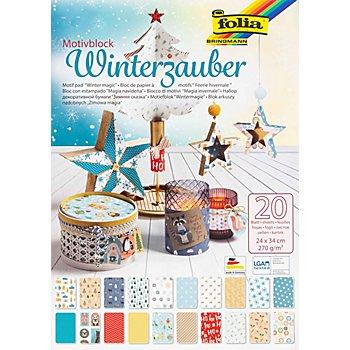 Folia Papierblock 'Winterzauber', 24 x 34 cm, 20 Blatt