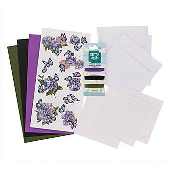 Kit créatif pour cartes à broder 'papillon violet'