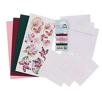 Kit créatif pour cartes à broder 'papillon rose'