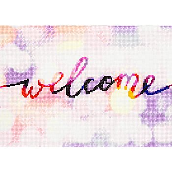 Diamantenstickerei-Set 'Welcome', 34 x 24 cm