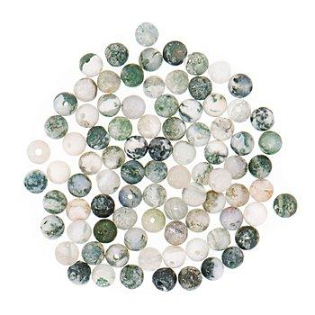 Natursteinperlen, grün, 4 mm Ø, 90 Stück