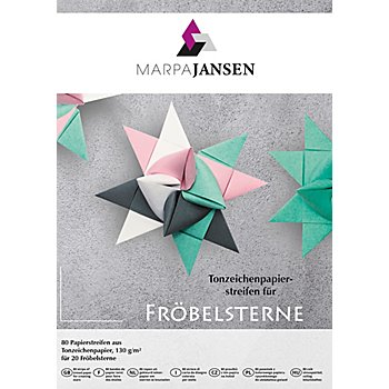 Papierstreifen-Set Fröbelsterne 'Pastell', 80 Streifen