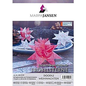 Transparentpapierstreifen-Set Fröbelsterne 'Weihnachten', 60 Streifen