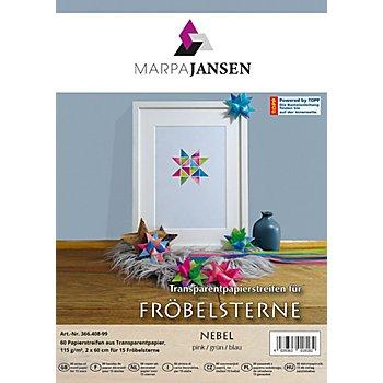 Transparentpapierstreifen-Set Fröbelsterne 'Nebel', 60 Streifen