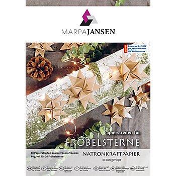 Set de bandes en papier pour étoiles de Fröbel, papier kraft, 80 pièces