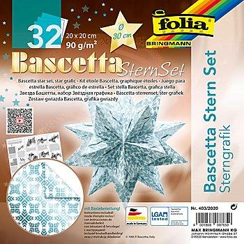 Folia Faltblätter 'Bascetta-Stern', weiss-eisblau, 20 x 20 cm, 32 Blatt