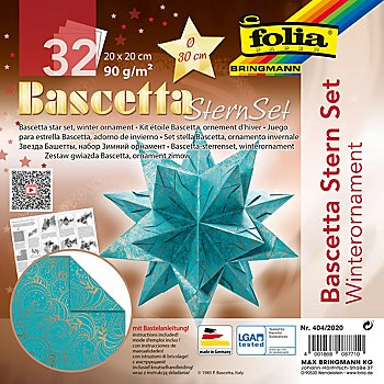 Folia Faltblätter 'Bascetta-Stern', türkis-kupfer, 20 x 20 cm, 32 Blatt
