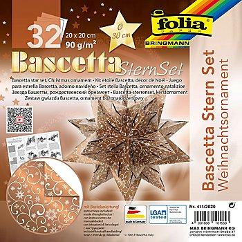 Folia Papier de pliage 'étoile Bascetta', cuivre-blanc, 20 x 20 cm, 32 feuilles