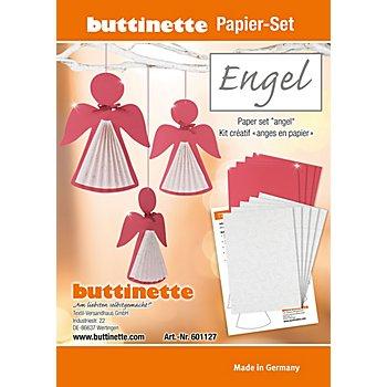 Kit créatif en papier 'ange', rouge-argenté, 9 pièces