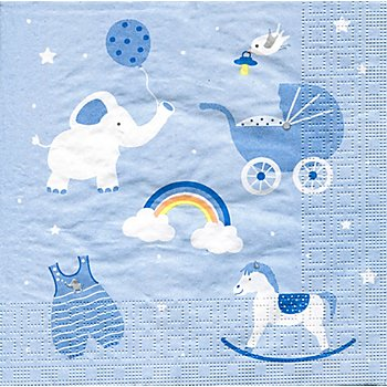 Serviettes en papier 'bébé garcon', 33 x 33 cm, 20 pièces