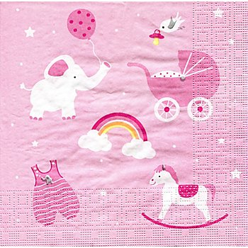 Papierservietten 'Baby Girl', 33 x 33 cm, 20 Stück