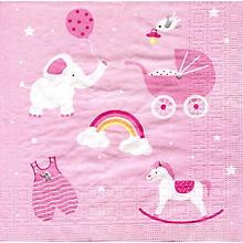 Serviettes en papier 'bébé fille', 33 x 33 cm, 20 pièces