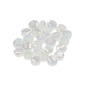 Facettierte Glasperlen, flach, weiß, 8 mm, 25 Stück