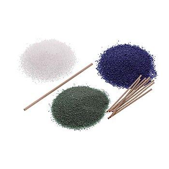 Kerzensand-Set blau-grün-weiss