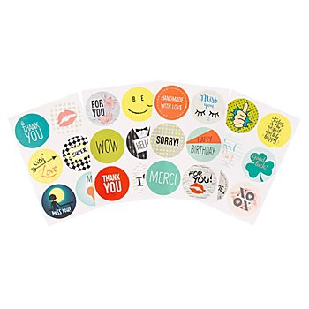 Stickers ronds 'Cool Wishes', 24 pièces
