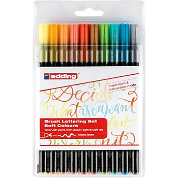 edding Brush Lettering-Set Soft colours, 10 Stifte