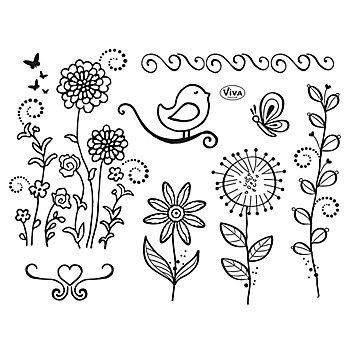 Set de tampons en silicone 'fleurs et oiseaux'