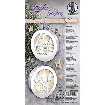 Ursus Bastelset Light Boxes 'Lebkuchenhaus und Weihnachtshänger', 11 cm Ø