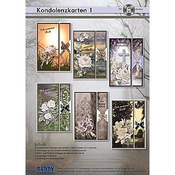 3D-Stanz- und Motivbogen-Set 'Kondolenz I', 6 Stück