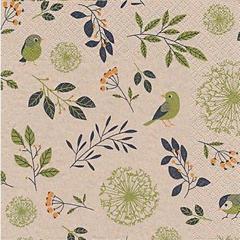 Serviettes en papier 'oiseaux et branches', 33 x 33 cm, 20 pièces