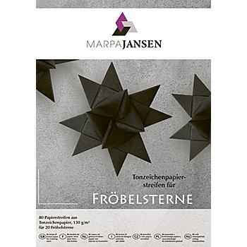 Papierstreifen-Set Fröbelsterne, schwarz, 80 Streifen