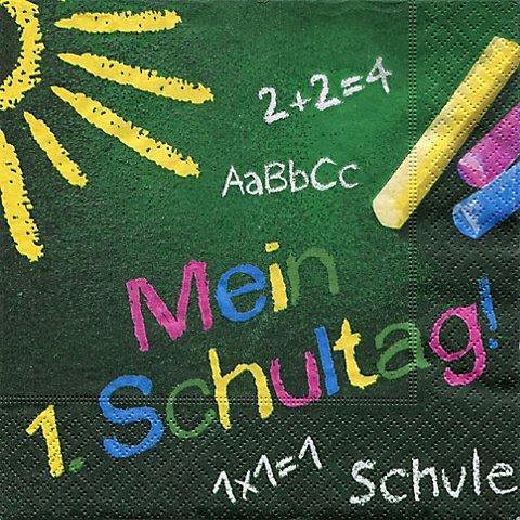 """Image of Papierserviette """"Mein 1. Schultag"""", 33 x 33 cm, 20 Stück"""