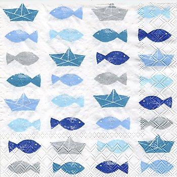 Papierservietten 'Fische/Boote', 33 x 33 cm, 20 Stück