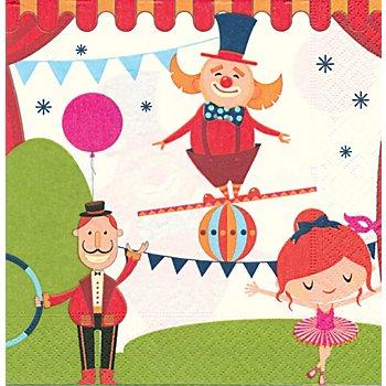 Papierservietten 'Zirkus', 33 x 33 cm, 20 Stück