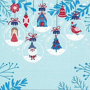 Papierservietten 'Winterkugeln', 33 x 33 cm, 20 Stück
