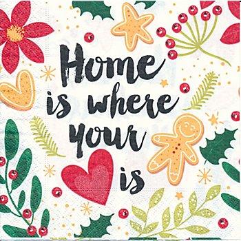 Papierservietten 'Home is where your heart is', 33 x 33 cm, 20 Stück