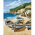 """Kit broderie diamant """"bateaux sur la plage"""", 38 x 48 cm"""