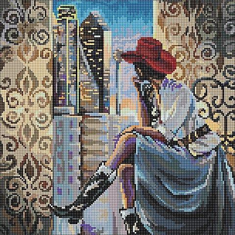 """Image of Diamantenstickerei-Set """"Blick auf Dallas"""", 38 x 38 cm"""