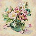 """Kit broderie diamant """"bouquet dans vase"""", 38 x 38 cm"""