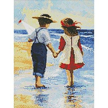 Kit broderie diamant 'enfants à la plage', 30 x 40 cm