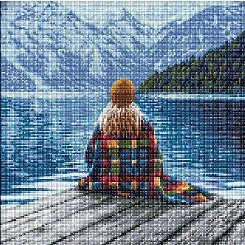 Kit broderie diamant 'fille contemplant lac', 40 x 40 cm