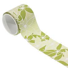 Stoffband 'Blüten', grün, 60 mm, 2,5 m