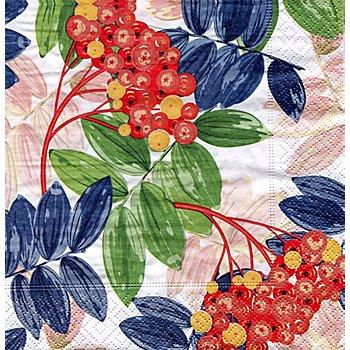 Papierserviette 'Beeren und Blätter', 33 x 33 cm, 20 Stück