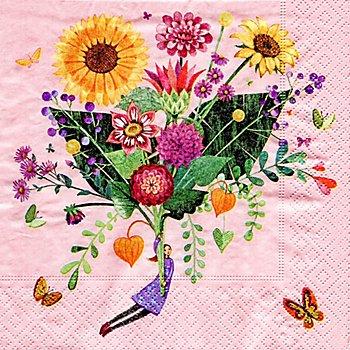 Serviettes en papier 'bouquet de fleurs', 33 x 33 cm, 20 pièces