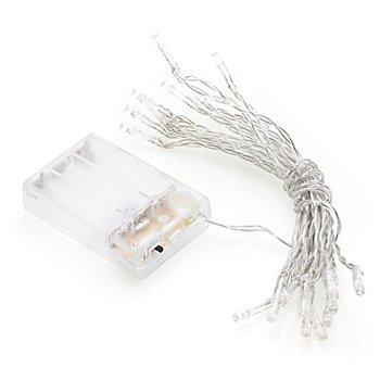 LED-Lichterkette mit Batteriekasten und Timer, 20 Birnchen, transparent